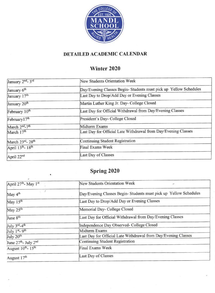 Mandl School Academic Calendar