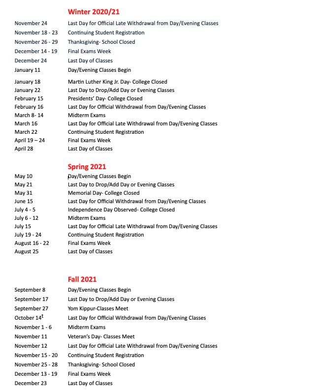 Mandl Academic Calendar 2021